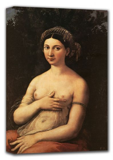 Raphael: The Portrait of a Young Woman (La Fornarina). Fine Art Canvas. Sizes: A4/A3/A2/A1 (001293)